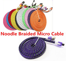 Wholesale Galaxy S4 Noodle Cable - Noodle Braided cable Micro USB 2.0 Cable Sync Data Charging 1m 2m 3m Cord Flat Woven Fabric Dual Colors for Samsung Galaxy S3 S4 S5
