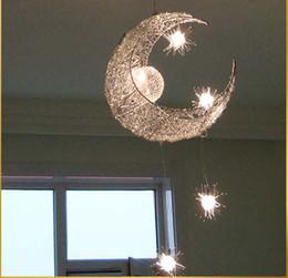 Wholesale Moon Pendant Lamp - LED G4 light source, Moon & Star - modern Children Kid Child Bedroom novelty Pendant Lamp Chandelier Light Ceiling Aluminum