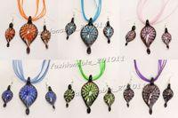 conjunto de brincos colar de murano venda por atacado-Lotes misturados Lampwork Murano Glass Flower dentro 3D Folha Pingente de Colar + Brincos Set