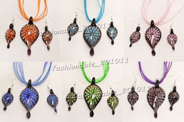 top popular Mixed Lots Lampwork Murano Glass Flower inside 3D Leaf Pendant Necklace+Earrings Set 2019