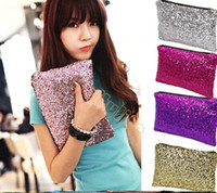 Wholesale Evening Clutch Bags Wholesale - Hot Selling!2014 Fashion Women's Sparkling Sequins Dazzling Clutch Party Evening Bag Ladies Handbag Girls Crystal Bling Purse 5 Colors