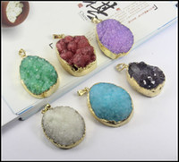 Wholesale Beads Nature Stone - 6pcs Gold plated Mix color Quartz Crystal Nature Druzy Drusy stone beads gem stone pendant Beads Jewelry findings