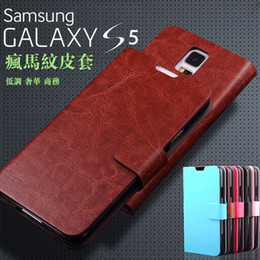Wholesale Galaxy S Duos Flip - Crazy Horse Wallet Flip PU Leather Stand Case Cover With Card Slots Money Pocket for Samsung Galaxy S5 I9600 G7106 Trend S Duos S7562 NOTE3