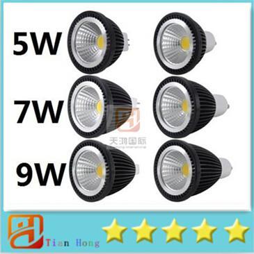Dimmable 5W GU10 E27 E26 MR16 Led COB bulbs light warm/pure/cool white energy saving led spotlights 120 angle 85-265V/12V