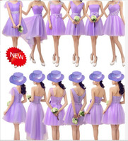 Wholesale Wonderful Short Dresses - Wonderful 6 Styles Strapless Sleeveless Organza A-Line Short Mini Bridesmaid Dress With Bow Lavender Bridesmaid Gown Cheap Free Shipping