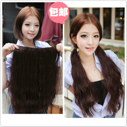 Wholesale Light Brown Wavy Hair Extensions - Ladies' deep wavy artificial hair pieces 5 clip-in hair extension 1 piece for full head