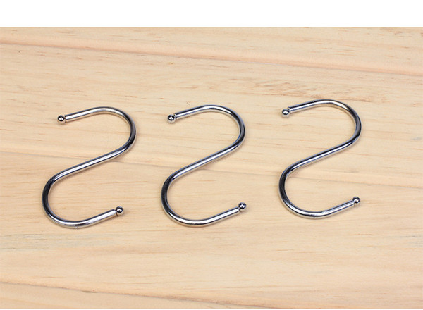 top popular High Quality S Hooks Kitchen Pot Pan Hanging Hanger Rack Home Clothes Holder Stainless 2019