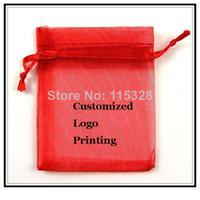 organza taschen logo großhandel-Großhandelsrot 100pcs / lot 7x9cm kann kundengebundenes Logo-kleine Weihnachtszugschnur-Organza-Schmucksache-Hochzeits-Geschenk-Beutel-Beutel