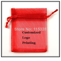 Wholesale logo gift bags small for sale - Group buy x9cm Red Can Customized Logo Small Christmas Drawstring Organza Jewelry Wedding Gift Pouch Bags