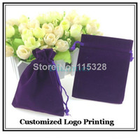 Wholesale Customized Velvet Gift Bags - Wholesale 50pcs Lot 9x12cm Purple Christmas Jewelry Velvet Gift Packaging Drawstring Bags & Pouches Can Customized Logo Printing