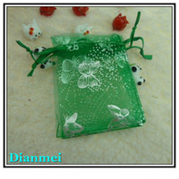 Wholesale Gift Bag Tulle Wedding - Free Shipping Wholesale 100pcs lot 7x9cm Green butterfly Christmas Organza Bags Wedding Gift Bags Tulle Gift Bags