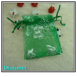 Wholesale Tulle Bags Wholesale - Free Shipping Wholesale 100pcs lot 7x9cm Green butterfly Christmas Organza Bags Wedding Gift Bags Tulle Gift Bags