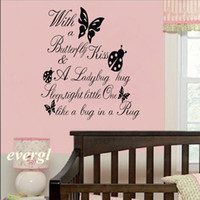Wholesale ZL Butterfly Kiss Ladybug HUG Quote Wall Sticker ART Vinyl Decal Baby Room Black