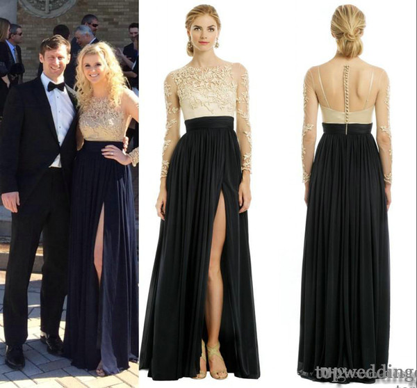 2014 Elegant Black And Neutral Catherine Deane Patricia Dress Scoop Long  Sleeve A Line Floor Length Lace Chiffon Evening Dresses Prom Dress Plus  Size ...