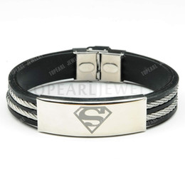 Wholesale Superman Bracelets - Free Shipping!3pcs 304 Stainless Steel Superman Rubber with Wire Bracelet MEB223