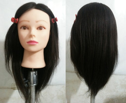 """Discount practice hair head - 16"""" New Authentic 100% Real Human Hair Hairdressing Practice Training Head Mannequin"""