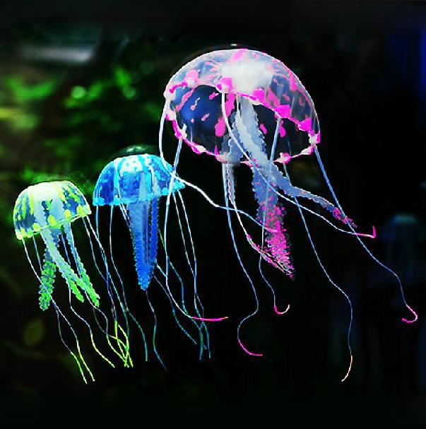 New Cute Fluorescent Effetto incandescente Medusa Aquarium Fish Tank Ornament Swim Pool Bagno Deco Mini Night acquario lampada