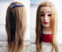melhores cabeças de manequim venda por atacado-Melhor 16-26 'cabeça 100% do manequim da cosmetologia cabelo humano para a prática do cabelo de alta qualidade