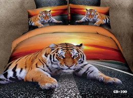 Wholesale Duvet Tiger Queen - Manly tiger sunset active printed cotton bedding set for queen size beds bed linen reversible duvet cover flat sheet 4 5pc comforter sets