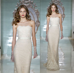 Wholesale Reem Acra Sweetheart Sheath Gown - Reem Acra Design 2015 New Bodycon Wedding Dresses Sheath Column Lace Ribbon Sequins Strapless Sweetheart Sweep Train Bridal Gowns Fashion