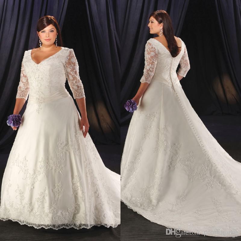 Plus Size Wedding Gowns Uk: Discount 2014 Plus Size Wedding Dresses White V Neck Half