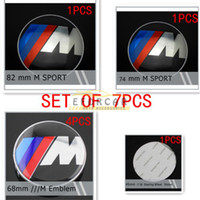 ingrosso ruote bmw-Set completo di 7 pezzi per M Tech Sport Power anteriore posteriore Wheel Steering Caps Emblem Full Black in fibra di carbonio Badge per BMW 82mm 74mm 68mm 45mm