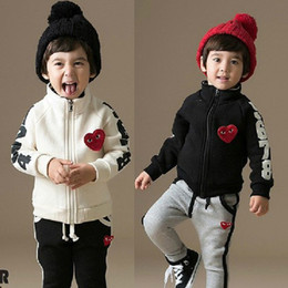 Wholesale Kids Sport Trousers - 2014 Hot Sell Autumn Children Boys And Girls Fashion Cartoon 2Pcs Set Sport Long Sleeve Coat Clothing Cardigan Pants Trousers Kid Suit E0306