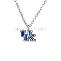 Wholesale Wholesale Wildcat Kentucky - NCAA Free ship 50pcs a lot single side enamel University of Kentucky Wildcats pendant SEC sports necklaces