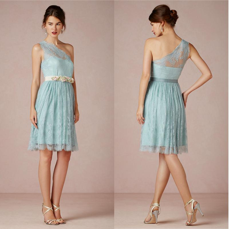 Light blue lace short bridesmaid dresses one shoulder knee for Short blue wedding dresses