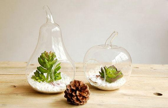 Fruit Shape Glass Tabletop Vase Transparent Glass Air Plant Succulent  Terrarium Creative Home Decoration,Modern Garden Ornament Yellow Glass Vase  Yellow ...