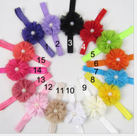 Wholesale hair designs headband - NEW fashion Children s Hair Accessories Small broken flower pearl design Hair Bands Performances Headdress Hair Clips color