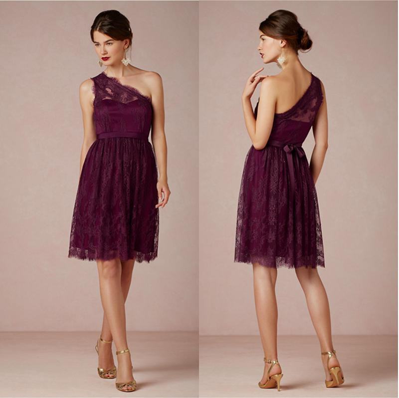 Dark Magenta Lace Short Bridesmaid Dresses One Shoulder Knee ...