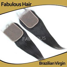 "Wholesale Lace Closure Top Piece - Fabulous Virgin Hair Freeparting Closure 5x5"" Straight Unprocessed Brazilian Lace top closure,8-20"" Human Hair piece,Bleached knots Closure"