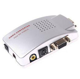 Wholesale Vga Systems - Universal PC VGA to TV AV RCA Signal Adapter Converter Video Switch Box Supports NTSC PAL system