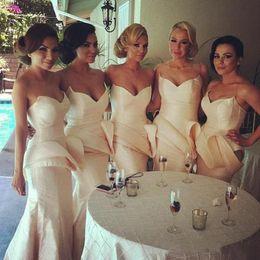 Wholesale Taffeta Mermaid Peplum Prom Dress - 2014 Special Sweetheart Neckline Long Bridesmaid Dress New Arrival Taffeta with Peplum Floor Length Mermaid Prom Dresses Gowns Custom Made