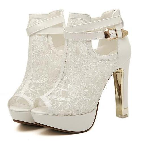 best selling Sexy White Black Lace Hollow Out Peep Toe Ankle Boots Buckle Metal Heels Breathable Chic Wedding Shoes 2014 2 Colors Size EU 34 to 39