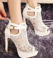 Wholesale White Lace Shoes Peep Toe - Sexy White Black Lace Hollow Out Peep Toe Ankle Boots Buckle Metal Heels Breathable Chic Wedding Shoes 2014 2 Colors Size EU 34 to 39