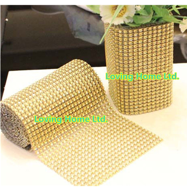 Gold 4.75 '' x 10 Yards 24 Row Diamond Mesh Wrap Roll Sparkle Rhinestone Crystal Looking Ribbon Wedding Party Chrismas Decor