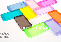 Wholesale Dust Plug Silicone - Soft Silicone Clear Ultra Thin Slim Transparent TPU Gel Case Cover Skin With Dust Plug For iPhone 4 4S Free Shipping 10pcs lot