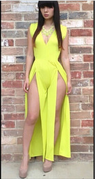 Robes Longues En Bandage Long Pas Cher-Fashion Women yellow split big yards longue section Bodycon Celebrity Party Dress Bandage Dress