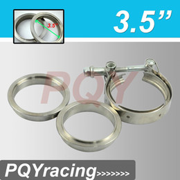 """Wholesale V Clamp Exhaust - New type 3.5"""" V Band clamp flange Kit (Stainless Steel 201) For turbo exhaust downpipe"""