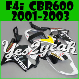 Wholesale Honda F4i Black - Yes2yeah Aftermarket Injection Mold Fairing For Honda CBR600F4i CBR 600 F4i 2001 2002 2003 01 02 03 Play White Black H61Y26+5 Free Gifts