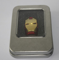 Wholesale Iron Man Flash Drive 256gb - 256GB 128GB 64GB LED Iron Man Head USB 2.0 USB Flash Drive Pen Grade A Drives Memory stick for iOS Windows Android