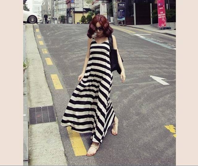 Mode Frauen Lange Maxi Kleider Lose Damen Rock Böhmischen Neuen Sommerkleid Schwarz und Weiß Streifen Sexy Kleid Mädchen Lässige Party Kleid YQ37