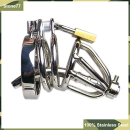 Double Chastity Device Canada - Small Size 100% Stainless Steel Double Rings Male Chastity Devices Cage With Urethral Sounding Catheter BDSM Toys Cock Bondage Gear