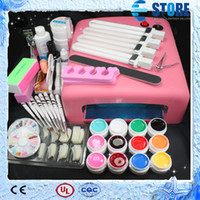 Wholesale Pro 36w Uv Gel - Pro 36W UV GEL Pink Lamp & 12 Color UV Gel Nail Art Tool Kits Sets,wu