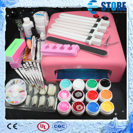Wholesale Gel Nails Set Lamp 36w - Pro 36W UV GEL Pink Lamp & 12 Color UV Gel Nail Art Tool Kits Sets,wu