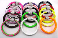 Wholesale Tibet Cuff Bead Bracelets - Leather Wrap Wristband Cuff Punk Magnetic Rhinestone Buckle Bracelet Bangle [JB03111*25]
