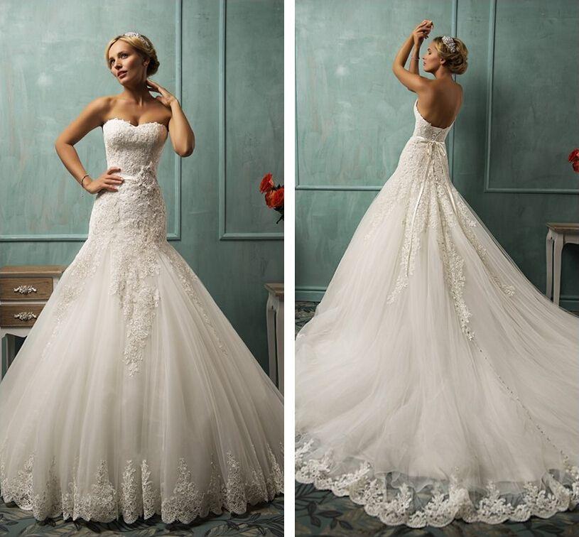 Discount Gorgeous Princess Wedding Dresses Strapless Lace ...