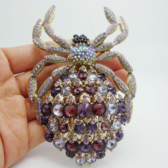 Großhandel - New Classic Luxury Lila Strass Kristall Vergoldete Spinne Tier Große Brosche Pin Anhänger